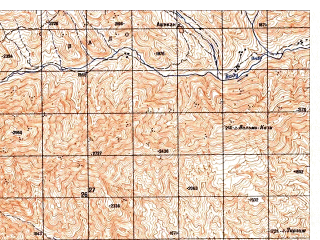Reduced fragment of topographic map ru--gs--050k--i42-017-3--N035-30_E068-00--N035-20_E068-15; towns and cities Barfak