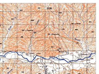 Reduced fragment of topographic map ru--gs--050k--i42-019-1--N035-40_E069-00--N035-30_E069-15