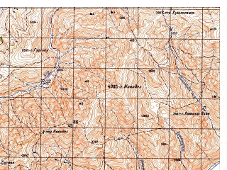 Reduced fragment of topographic map ru--gs--050k--i42-020-2--N035-40_E069-45--N035-30_E070-00; towns and cities Khavak