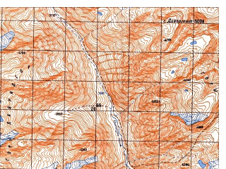 Reduced fragment of topographic map ru--gs--050k--i42-022-3--N035-30_E070-30--N035-20_E070-45