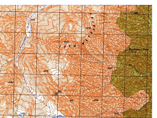 Reduced fragment of topographic map ru--gs--050k--i42-023-3--N035-30_E071-00--N035-20_E071-15