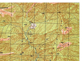 Reduced fragment of topographic map ru--gs--050k--i42-023-4--N035-30_E071-15--N035-20_E071-30