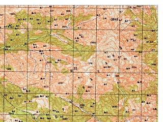 Reduced fragment of topographic map ru--gs--050k--i42-033-4--N035-10_E070-15--N035-00_E070-30