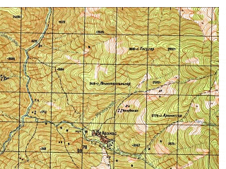 Reduced fragment of topographic map ru--gs--050k--i42-034-4--N035-10_E070-45--N035-00_E071-00
