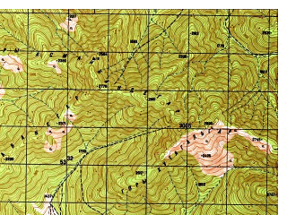 Reduced fragment of topographic map ru--gs--050k--i42-045-4--N034-50_E070-15--N034-40_E070-30