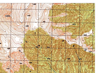 Reduced fragment of topographic map ru--gs--050k--i42-046-3--N034-50_E070-30--N034-40_E070-45