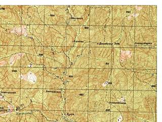 Reduced fragment of topographic map ru--gs--050k--i42-046-4--N034-50_E070-45--N034-40_E071-00