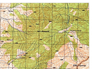 Reduced fragment of topographic map ru--gs--050k--i42-047-3--N034-50_E071-00--N034-40_E071-15; towns and cities Pashshad
