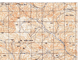 Reduced fragment of topographic map ru--gs--050k--i42-053-2--N034-40_E068-15--N034-30_E068-30