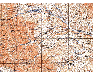 Reduced fragment of topographic map ru--gs--050k--i42-055-2--N034-40_E069-15--N034-30_E069-30