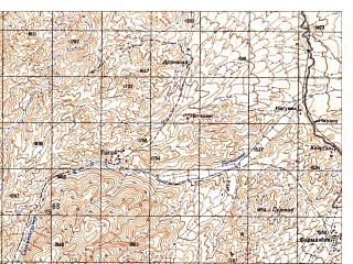 Reduced fragment of topographic map ru--gs--050k--i42-056-3--N034-30_E069-30--N034-20_E069-45
