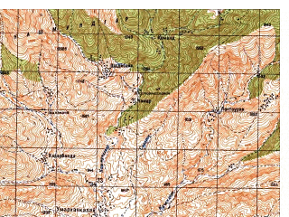 Reduced fragment of topographic map ru--gs--050k--i42-057-2--N034-40_E070-15--N034-30_E070-30