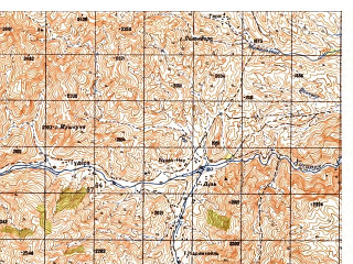 Reduced fragment of topographic map ru--gs--050k--i42-068-1--N034-20_E069-30--N034-10_E069-45