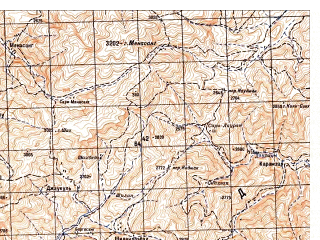 Reduced fragment of topographic map ru--gs--050k--i42-073-1--N034-00_E066-00--N033-50_E066-15; towns and cities Shosh-e Sofla