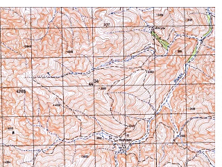 Reduced fragment of topographic map ru--gs--050k--i42-075-3--N033-50_E067-00--N033-40_E067-15