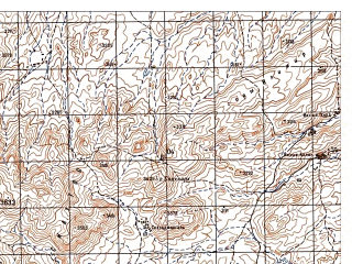 Reduced fragment of topographic map ru--gs--050k--i42-076-2--N034-00_E067-45--N033-50_E068-00; towns and cities Qala-i Khan