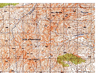 Reduced fragment of topographic map ru--gs--050k--i42-079-4--N033-50_E069-15--N033-40_E069-30