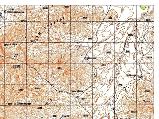 Reduced fragment of topographic map ru--gs--050k--i42-090-1--N033-40_E068-30--N033-30_E068-45