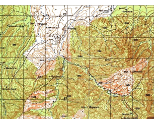 Reduced fragment of topographic map ru--gs--050k--i42-104-3--N033-10_E069-30--N033-00_E069-45