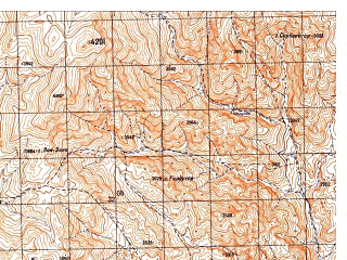 Reduced fragment of topographic map ru--gs--050k--i42-110-4--N032-50_E066-45--N032-40_E067-00