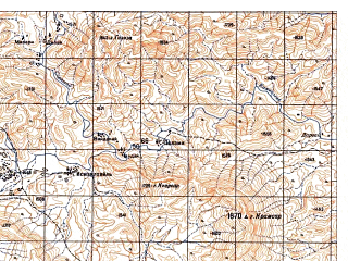 Reduced fragment of topographic map ru--gs--050k--i42-116-1--N033-00_E069-30--N032-50_E069-45