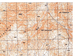 Reduced fragment of topographic map ru--gs--050k--i42-121-3--N032-30_E066-00--N032-20_E066-15; towns and cities Or Dobolagh