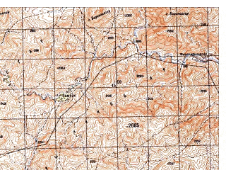 Reduced fragment of topographic map ru--gs--050k--i42-122-2--N032-40_E066-45--N032-30_E067-00