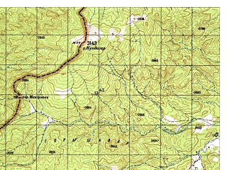 Reduced fragment of topographic map ru--gs--050k--i42-127-2--N032-40_E069-15--N032-30_E069-30; towns and cities Shkin