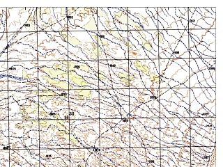 Reduced fragment of topographic map ru--gs--050k--i42-135-3--N032-10_E067-00--N032-00_E067-15