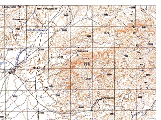 Reduced fragment of topographic map ru--gs--050k--i42-137-2--N032-20_E068-15--N032-10_E068-30