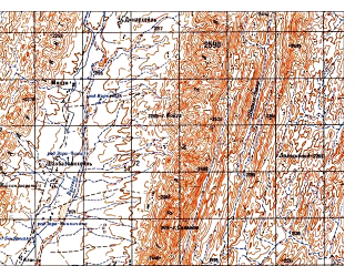 Reduced fragment of topographic map ru--gs--050k--i42-138-3--N032-10_E068-30--N032-00_E068-45; towns and cities Wur