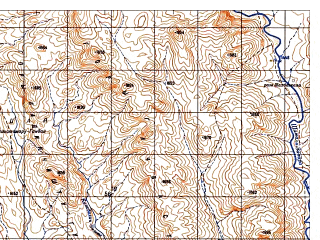Reduced fragment of topographic map ru--gs--050k--i42-139-3--N032-10_E069-00--N032-00_E069-15