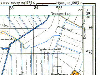 Reduced fragment of topographic map ru--gs--050k--j34-020-4--N039-30_E021-45--N039-20_E022-00; towns and cities Kardhitsa, Kardhitsomagoula