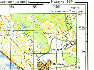 Reduced fragment of topographic map ru--gs--050k--j34-029-2--N039-20_E020-15--N039-10_E020-30; towns and cities Parga