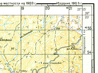 Reduced fragment of topographic map ru--gs--050k--j34-031-1--N039-20_E021-00--N039-10_E021-15