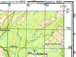 Reduced fragment of topographic map ru--gs--050k--j34-035-1--N039-20_E023-00--N039-10_E023-15; towns and cities Argalasti