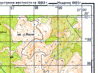 Reduced fragment of topographic map ru--gs--050k--j34-042-4--N038-50_E020-45--N038-40_E021-00; towns and cities Palairos