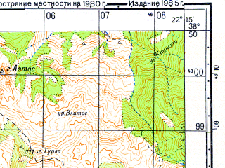 Reduced fragment of topographic map ru--gs--050k--j34-045-3--N038-50_E022-00--N038-40_E022-15