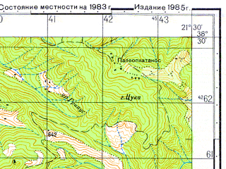 Reduced fragment of topographic map ru--gs--050k--j34-055-4--N038-30_E021-15--N038-20_E021-30; towns and cities Mesolongion