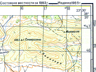 Reduced fragment of topographic map ru--gs--050k--j34-071-2--N038-20_E023-15--N038-10_E023-30; towns and cities Thia