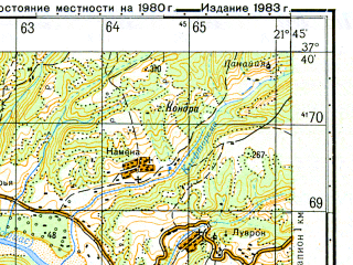 Reduced fragment of topographic map ru--gs--050k--j34-092-1--N037-40_E021-30--N037-30_E021-45; towns and cities Mayiras