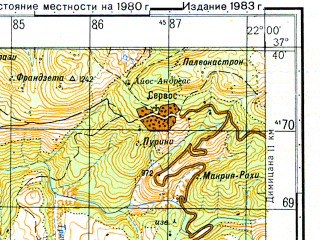 Reduced fragment of topographic map ru--gs--050k--j34-092-2--N037-40_E021-45--N037-30_E022-00