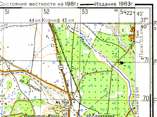 Reduced fragment of topographic map ru--gs--050k--j34-094-1--N037-40_E022-30--N037-30_E022-45; towns and cities Argos