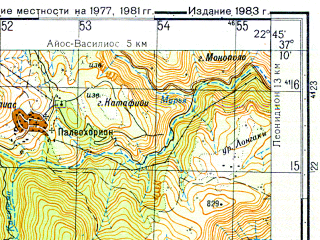 Reduced fragment of topographic map ru--gs--050k--j34-106-3--N037-10_E022-30--N037-00_E022-45