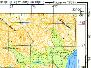 Reduced fragment of topographic map ru--gs--050k--j34-118-2--N037-00_E022-45--N036-50_E023-00; towns and cities Kiparission