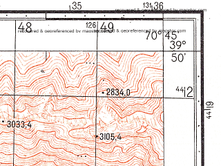 Reduced fragment of topographic map ru--gs--050k--j42-010-3--N039-50_E070-30--N039-40_E070-45