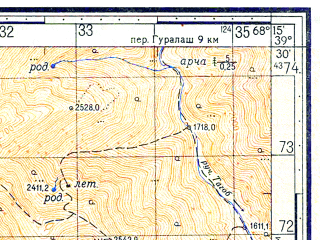 Reduced fragment of topographic map ru--gs--050k--j42-017-3--N039-30_E068-00--N039-20_E068-15