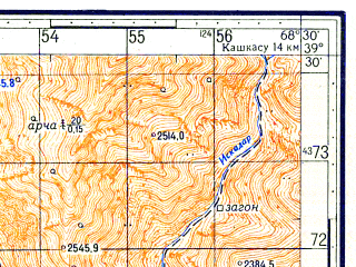 Reduced fragment of topographic map ru--gs--050k--j42-017-4--N039-30_E068-15--N039-20_E068-30
