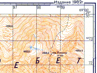 Reduced fragment of topographic map ru--gs--050k--j42-018-4--N039-30_E068-45--N039-20_E069-00