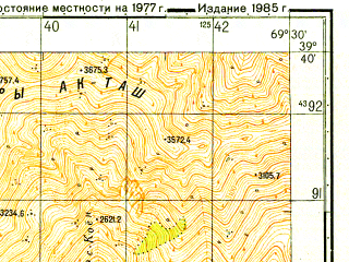 Reduced fragment of topographic map ru--gs--050k--j42-019-2--N039-40_E069-15--N039-30_E069-30
